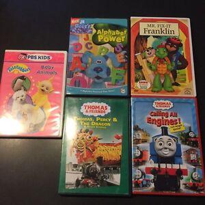 5 TODDLER DVD's: Thomas, Franklin, teletubbies etc