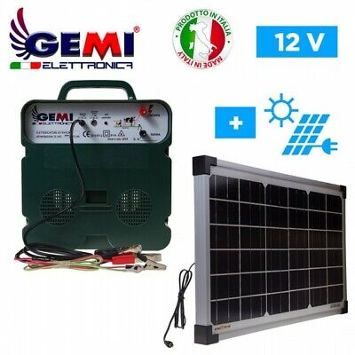 Electric Fence Energiser 12 Volts Solar Powered 5 Km For Electric Fences Gemi
