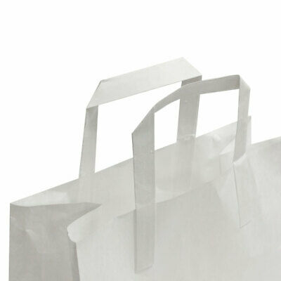 Shop White Paper Carrier Bags with Flat Handles x 100 bags