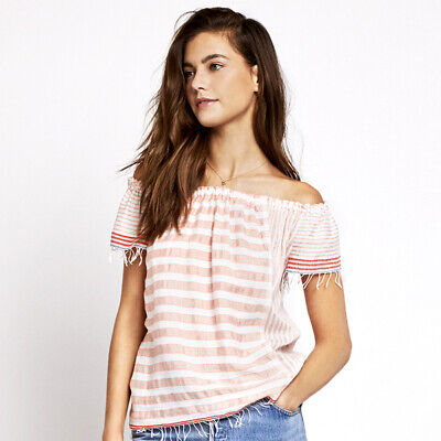 LEMLEM Liya Kebede NWT $175 Assaman Off-The-Shoulder Top in Blush Size Medium