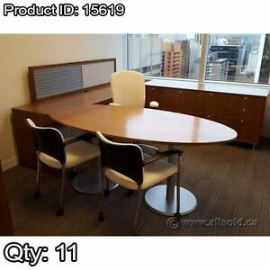 Teknion Solutions Solitar Series Walnut 4 pc Office Desk Suite