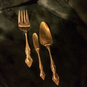 Vintage set of 3 Gold Plated stainless steel serving utensils