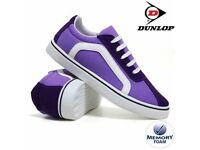 Ladies Dunlop Purple Canvas Lace-Up Plimsoll Trainer Pumps Sizes 3-8