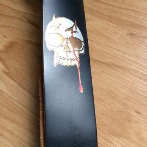 Strap de guitare en cuir Levy's 4 pouces de largeur SKULL