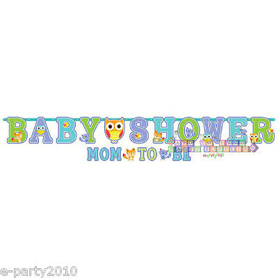 BABY SHOWER Woodland Welcome JUMBO BANNER SET ~ Party Supplies Decorations Blue