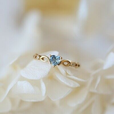 14k gold Heart Sapphire pieces of exquisite small fresh ladies engagement (Rings Ladies 14k Ring)