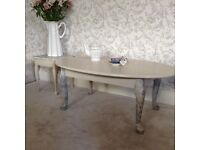 Cream /grey hand painted coffee table plus small lamp table