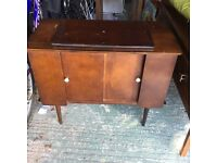 Retro TV cabinet/table with turntable on top