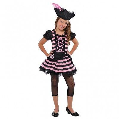 Piratin Gr. 110 Kinder Kostüm + Piraten hut rosa/sch  Karneval Mädchen - Rosa Piraten Kostüm