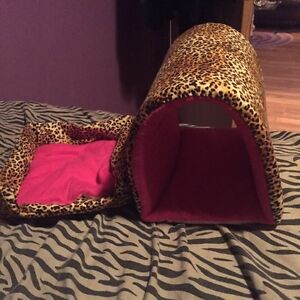 Cheetah print Guinea pig bed and tunnel, hand sewn