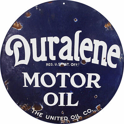 Reproduction Duralene Motor Oil Sign 24X24 Round