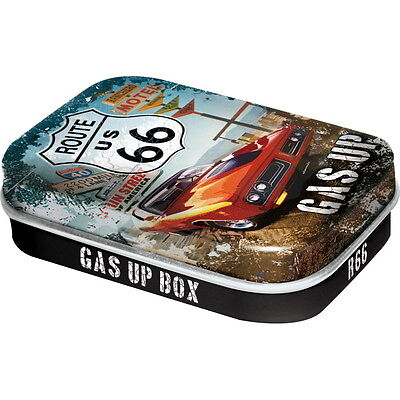 NOSTALGIE Pillendose ROUTE 66 - GAS UP mit Pfefferminz Dragees *NEU* OVP