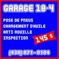 Changement Pneus + Huile + antirouille + Inspection Automobile