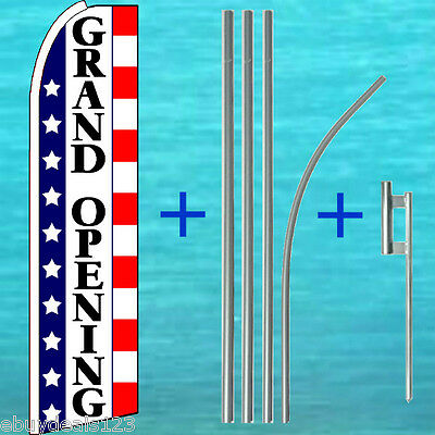 Grand Opening Flutter Feather Flag 15 Pole Mount Swooper Bow Banner Sign