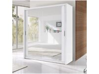 BRAND NEW 2 OR 3 DOOR SLIDING WARDROBES WITH SHELVES, RAILS & FULL MIRROR IN DIFFERENT COLOURS SIZES
