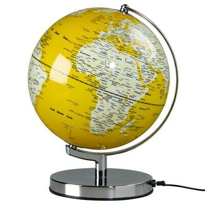 "CONTEMPORARY MODERN ILLUMINATED LIGHT UP 10"" MUSTARD GLOBE CHROME BASE ATLAS"