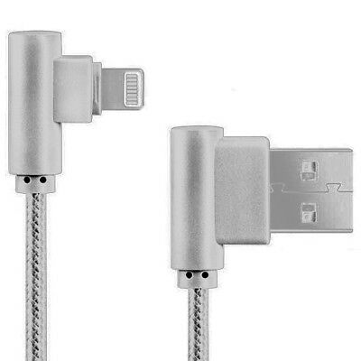 CABLE DATOS CARGA RAPIDA USB A LIGHTNING NYLON TRENZADO 90º ANGULO RECTO...
