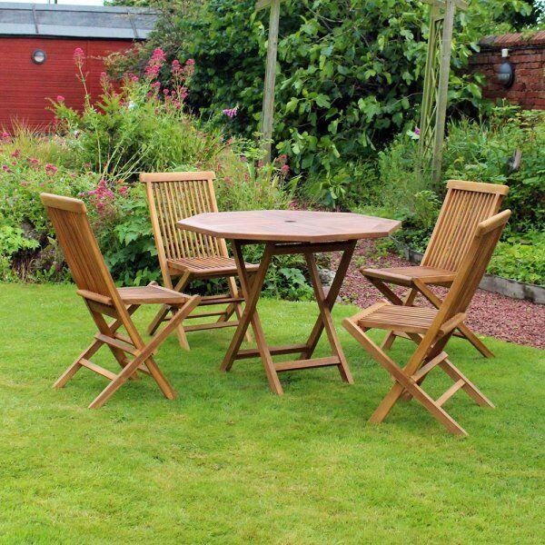 5 piece octagonal teak table with folding chair garden patio furniture set - Garden Furniture Eastbourne