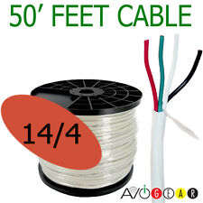 50 Feet 14/4, 14 Gauge 4 Conductor Premium Speaker Wire Cable FT4 UL AWG CL3