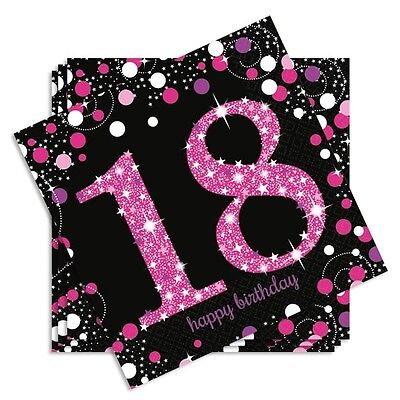 Party-Servietten Ziffer 18, zum Geburtstag, 16er, 33x33cm, pink