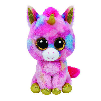 Ty Beanie Boos Fantasia The Multicolored Unicorn 6  Plush Toy With Glitter Eyes