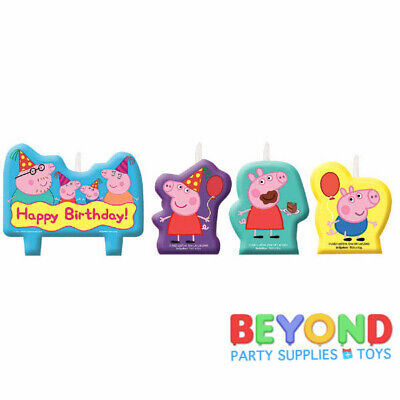 Peppa Pig Happy Birthday Cake Topper Candle Set 4pc