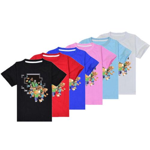 Minecraft Kinder T-Shirt Kurzarm Jungen Mädchen Baumwolle Sommer Sport 120-170