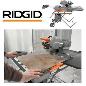 "NEW RIDGID 10"" WET TILE SAW R4091 193459190 W/ STAND 15 AMP PROFESSIONAL POWER TOOL"