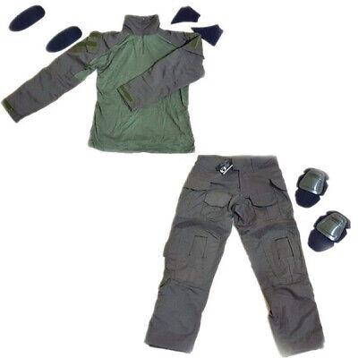 Uniforme estilo militar DELUXE combat completo+rodilleras RANGER GREEN M 24/48h