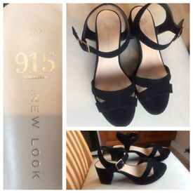 Girls Heeled Black Sandals, Size 4, New Look