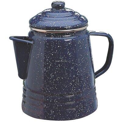Coleman Enameware Coffee Maker 9 Cup Percolator Stainless Steel Rim 2000016430 Coleman Stainless Steel Coffee Maker