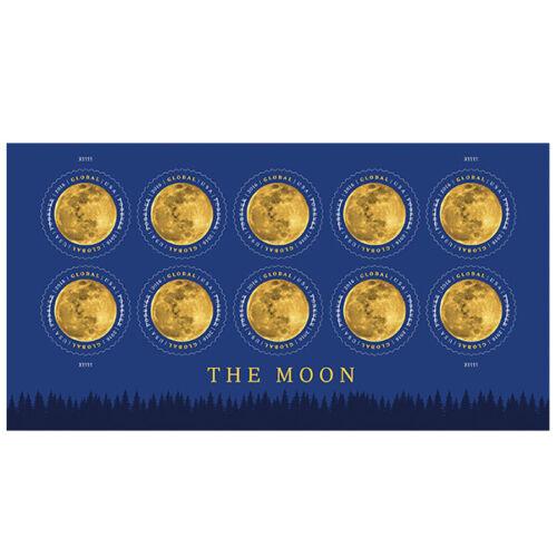 Купить USPS New The Moon Global Forever International rate stamp pane of 10