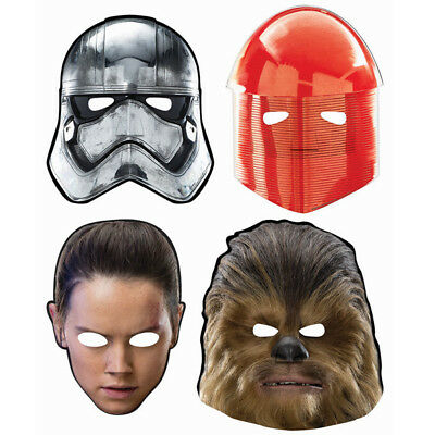 Star War Episode 8 'THE LAST JEDI' Paper Masks Boys Birthday Party Favors ~ 8ct