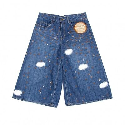 TSUMORI CHISATO Polka Dot Paint Wide Denim Shorts Size 2(K-49964)