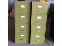Two vintage metal four drawer filing cabinets