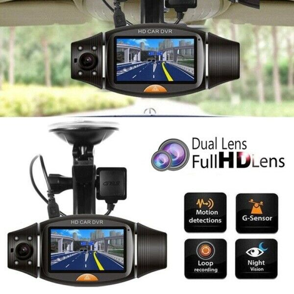 HD Car DVR Dual Camera Lens DVR Wide-angle Night Vision Gravity Sensor with GPS