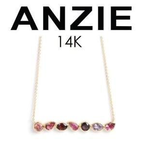 NEW ANZIE 14K GOLD NECKLACE 2360MSX 138124863 JEWELLERY JEWELRY YELLOW GOLD PINK TOURMALINE