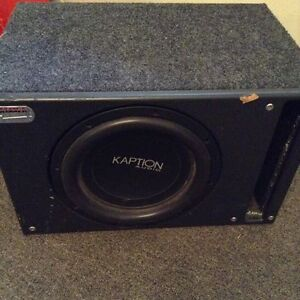"""10"""" and 12"""" Kaption Subwoofers in different Boxes& Scosche Amp"""