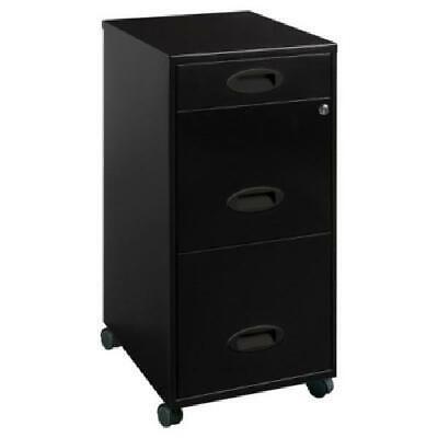 Mobile File Cabinet W Lock Rolling Storage 3 Drawer Office Black Metal Vertical