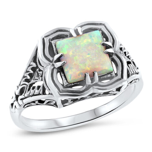 VICTORIAN WHITE LAB OPAL .925 STERLING SILVER ANTIQUE STYLE RING,           #721