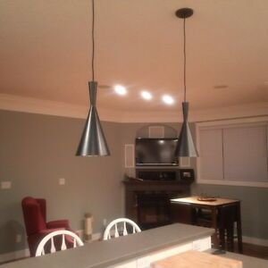 Black Pendant Lights (2 of them) over island or dining rm table
