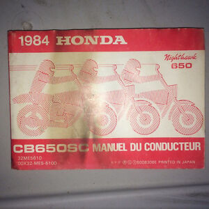 1984 Honda CB650SC Nighthawk Owners Manual