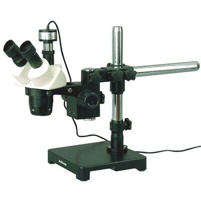 Amscope 20x-40x-80x Stereo Microscope On Boom Stand 1.3mp Digital Camera