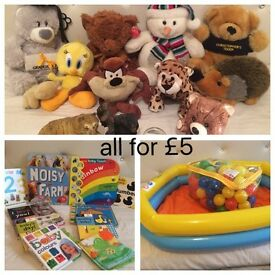 Bundle Of kids toys, teddy bears, books, paddling pool, balls and mantle pieces