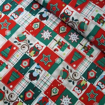100% Cotton Fabric Christmas Owls Festive Patches Tree Decorations 135cm Wide - Christmas Owls