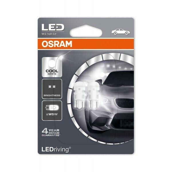 Car Parts - Osram 501 LED Bulbs W5W Cool White 6000K Wedge 2880CW-02B Pack of 2