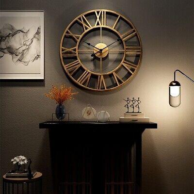 3D Circular Retro Roman Wrought Hollow Iron Clocks Mute Home Decor Wall Clock ^ Roman Home Decor