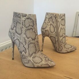 Stunning Snakeskin Effect High Heel Ankle Boots Brand New Size 5