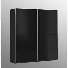 LUXURY DESIGN BRAND NEW ITALIAN 173 cm HIGH GLOSS 2 DOOR SLIDING WARDROBE SAME\NEXT DAY DELIVERY