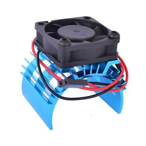 RC 1:10 540 550 Electric Motor Heat Proof Cover Heat Sink & Cooling Fan Blue